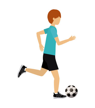 male athlete: male athlete practicing football soccer isolated icon design, vector illustration  graphic