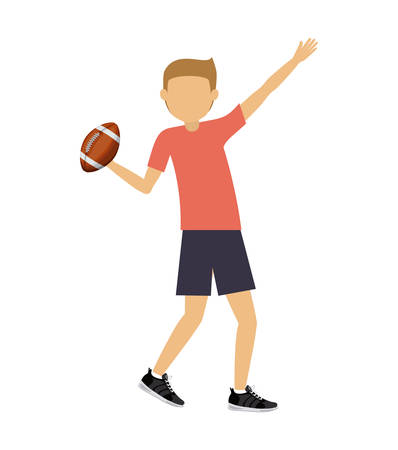 male athlete: male athlete practicing american football isolated icon design, vector illustration  graphic