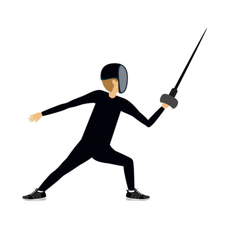 male athlete: male athlete practicing fencing isolated icon design, vector illustration  graphic