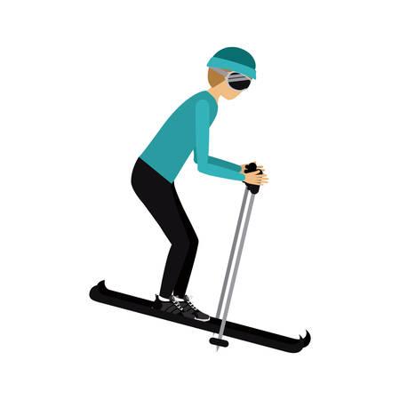 male athlete: male athlete practicing ski isolated icon design, vector illustration  graphic Illustration