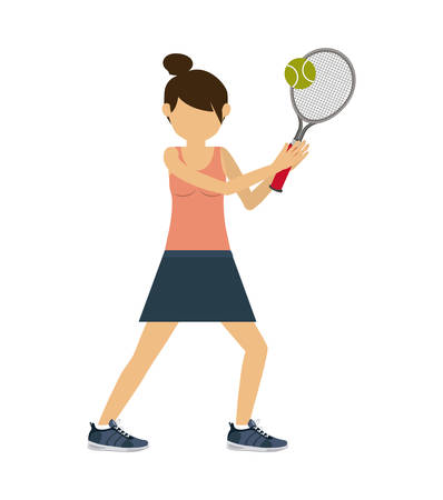female athlete: female athlete practicing tennis  isolated icon design, vector illustration  graphic