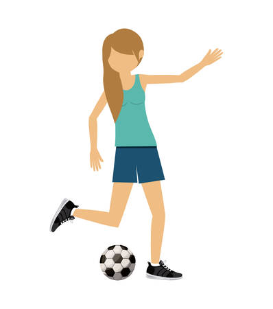 female athlete: female athlete practicing football soccer isolated icon design, vector illustration  graphic