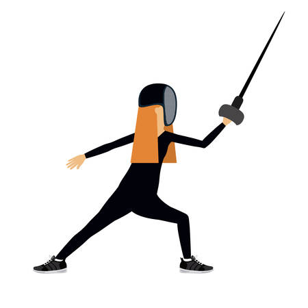 female athlete: female athlete practicing fencing  isolated icon design, vector illustration  graphic