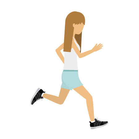 female athlete: female athlete practicing running isolated icon design, vector illustration  graphic