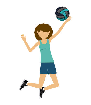 female athlete: female athlete practicing volleyball  isolated icon design, vector illustration  graphic Illustration