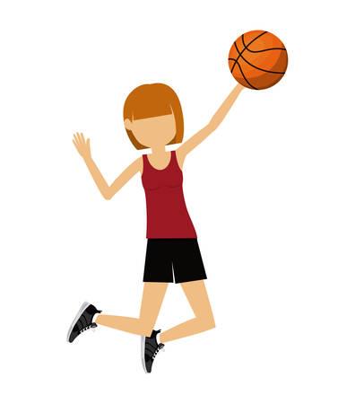 balon de basketball: mujer atleta practicando baloncesto aislados icono del dise�o, ejemplo gr�fico del vector