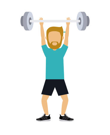 male athlete: male athlete practicing weight lifting isolated icon design, vector illustration  graphic Illustration