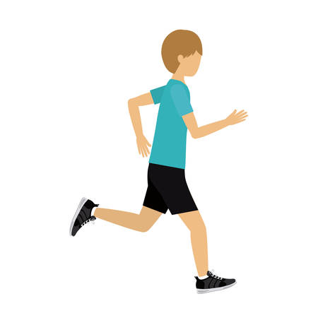 male athlete: male athlete practicing running isolated icon design, vector illustration  graphic Illustration