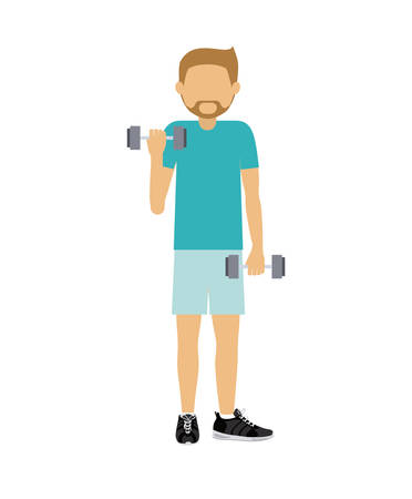male athlete: male athlete practicing weight lifiting  isolated icon design, vector illustration  graphic