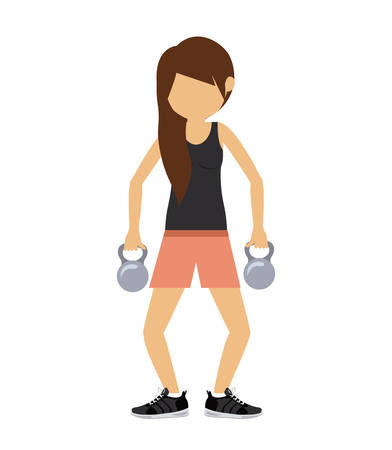 female athlete: female athlete practicing weight lifting isolated icon design, vector illustration  graphic Illustration