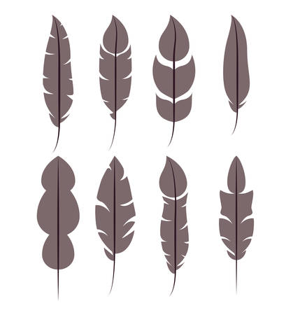 jeu de modèle de plumes isolé jeu de icônes, illustration de vecteur ...