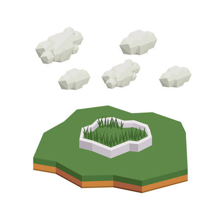 grass isolated: park isometric  isolated icon design, vector illustration  graphic