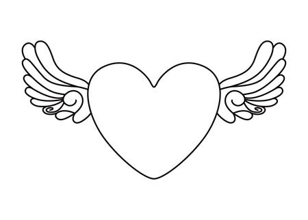 heart and wings tattoo isolated icon design, vector illustration  graphic Illustration