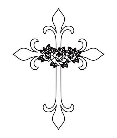 cruzar y tatuaje de flores aisladas icono del diseño, ejemplo gráfico del vector
