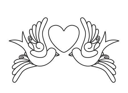 Herz und Vögel Tattoo isoliert Icon Design, Vektor-Illustration Grafik