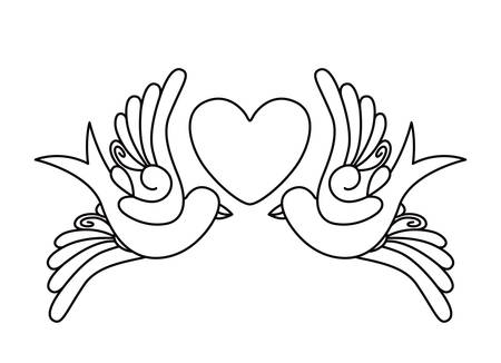 heart and birds tattoo isolated icon design, vector illustration  graphic Illustration