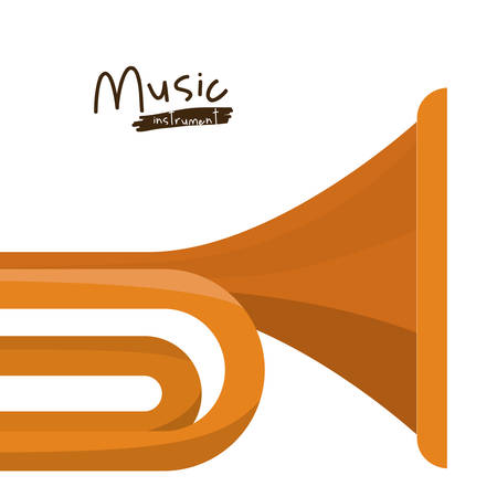 trumpet isolated: trumpet instrument isolated icon design, vector illustration  graphic