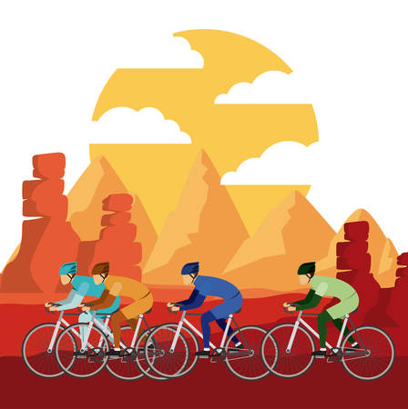 mountain silhouette: cycling race with beautiful landscape background isolated icon design, vector illustration  graphic Illustration