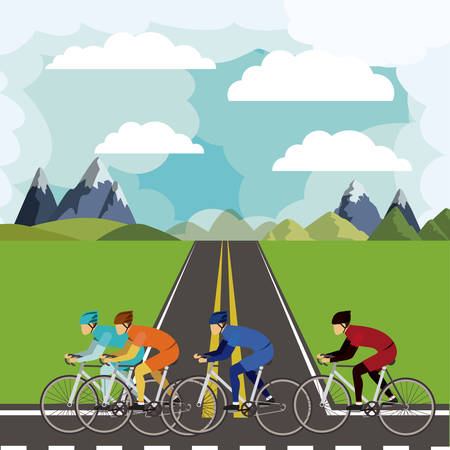 cycling race: cycling race with beautiful landscape background isolated icon design, vector illustration  graphic Illustration