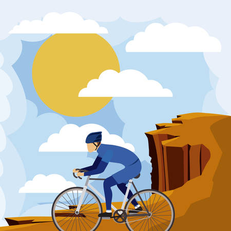 cycling helmet: cycling race with beautiful landscape background isolated icon design, vector illustration  graphic Illustration