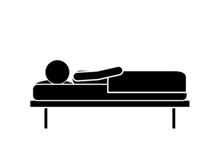 lying in: person lying in bed isolated icon design, vector illustration  graphic