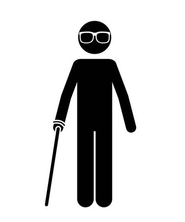 blind person: blind person isolated icon design, vector illustration  graphic