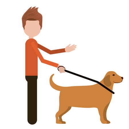 guide dog: blind person with a guide dog isolated icon design, vector illustration  graphic