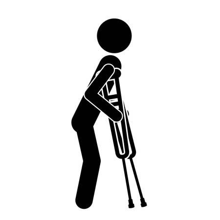 松葉杖の人が隔離されたアイコンのデザイン、ベクトル イラストレーション グラフィックを無効に