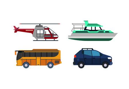 set i mezzi di trasporto icona grafica vettoriale isolato