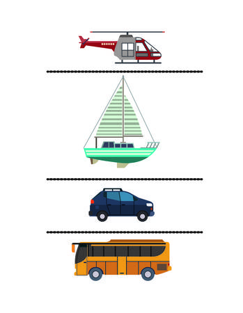 means of transport: set means transport icon vector graphic isolated