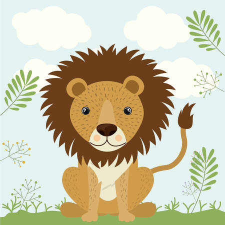 lion cute wildlife icon vector isolated graphic