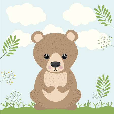 wildlife: bear cute wildlife icon vector isolated graphic