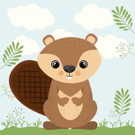 castor: castor lindo fauna icono vector gráfico Vectores