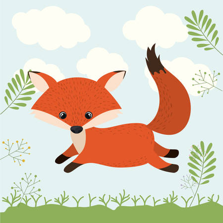 fox cute woodland icon vector isolated graphic