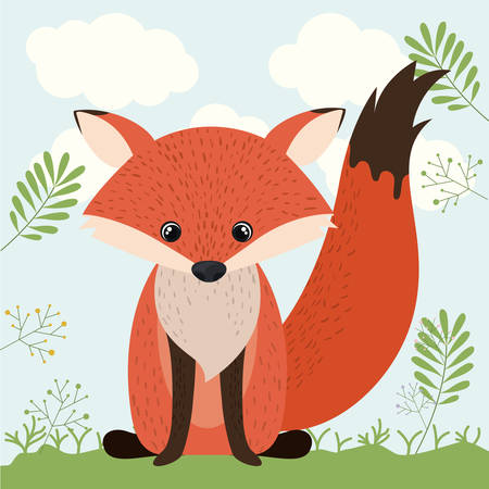 woodland: fox cute woodland icon vector isolated graphic