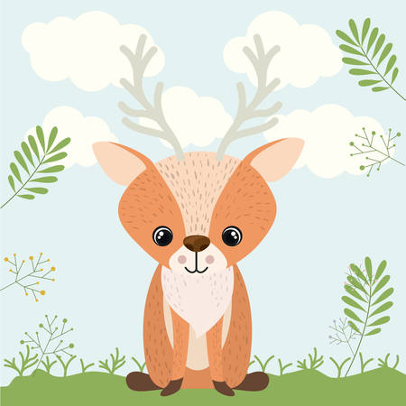 woodland: reindeer cute woodland icon vector isolated graphic