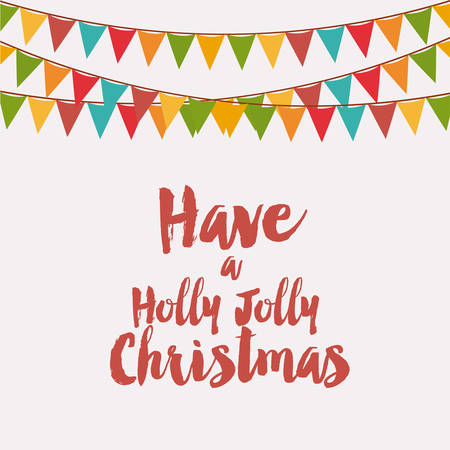 jolly: have a holly jolly christmas vector graphic illustration