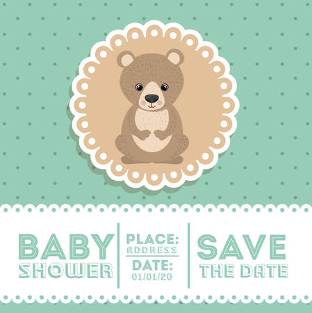 invite congratulate: bear animal baby shower card icon vector illustration graphic
