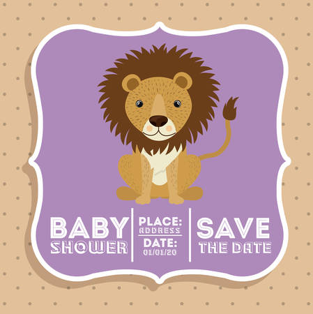 lion animal baby shower card icon vector illustration graphic Illustration
