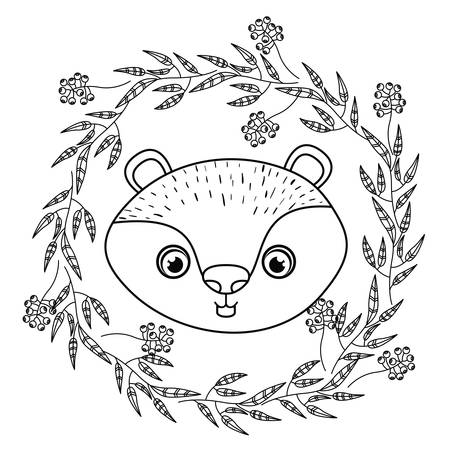 castor: animal drawing within wreath icon vector illustration graphic