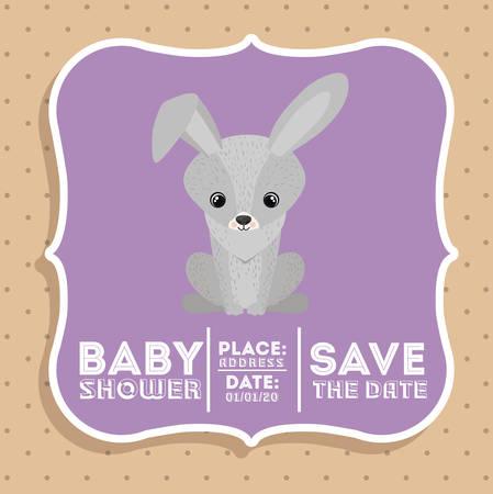 invite congratulate: rabbit animal baby shower card icon vector illustration graphic