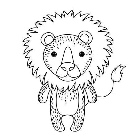 wildlife: lion cute wildlife icon vector isolated graphic