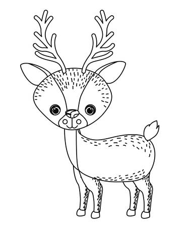 wildlife: reindeer cute wildlife icon vector isolated graphic Illustration