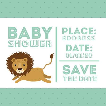 invite congratulate: lion animal baby shower card icon vector illustration graphic Illustration