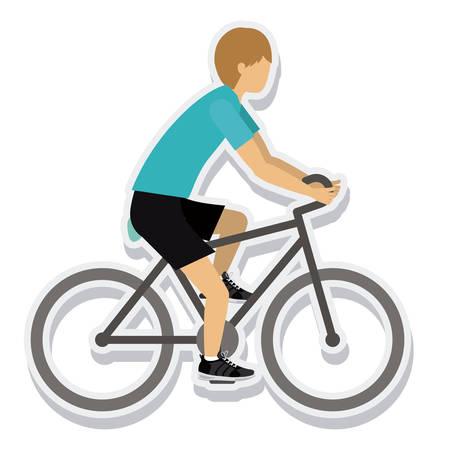 ridding: person figure athlete bike ride sport icon vector illustration design