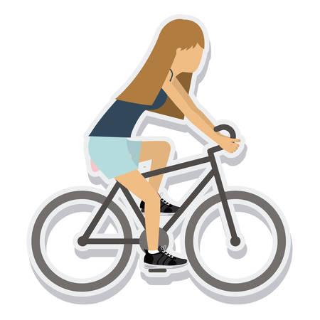 person figure athlete bike ride sport icon vector illustration design