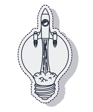 launcher: rocket startup bulb launcher isolated icon vector illustration design