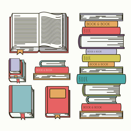 graphic novel: books set library isolated icon vector illustration design
