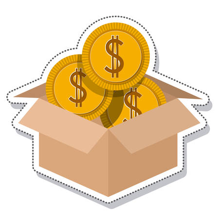 box carton coins founds vector illustration design