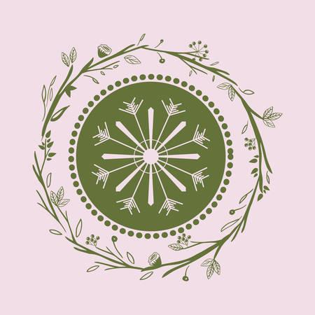 hung: merry christmas wreath decoration vector illustration design